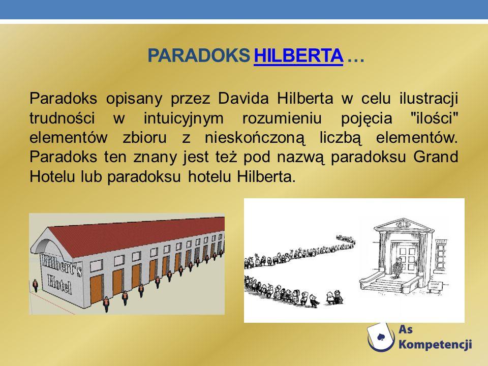 PARADOKS HILBERTA …HILBERTA Paradoks opisany przez Davida Hilberta w celu ilustracji trudności w intuicyjnym rozumieniu pojęcia
