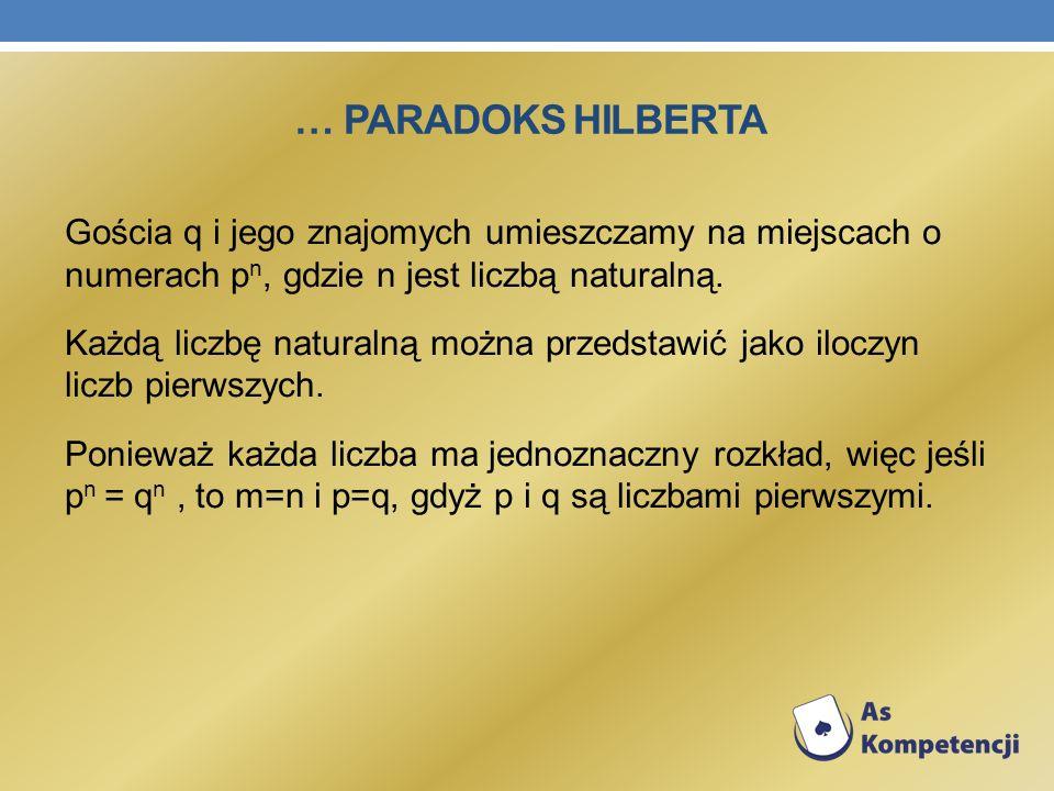 … PARADOKS HILBERTA Gościa q i jego znajomych umieszczamy na miejscach o numerach p n, gdzie n jest liczbą naturalną. Każdą liczbę naturalną można prz