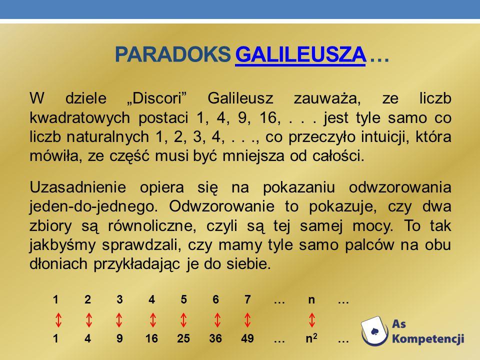 PARADOKS GALILEUSZA …GALILEUSZA W dziele Discori Galileusz zauważa, ze liczb kwadratowych postaci 1, 4, 9, 16,... jest tyle samo co liczb naturalnych
