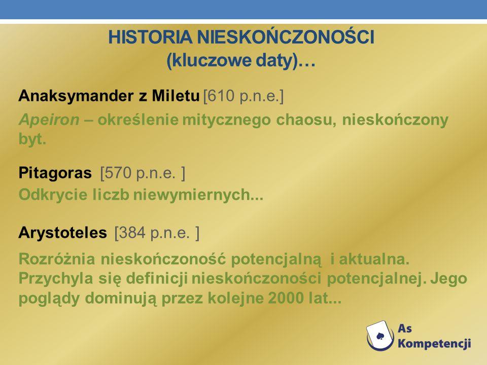 HISTORIA NIESKOŃCZONOŚCI (kluczowe daty)… Anaksymander z Miletu [610 p.n.e.] Apeiron – określenie mitycznego chaosu, nieskończony byt. Pitagoras [570