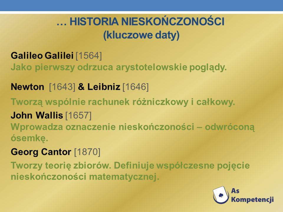 … HISTORIA NIESKOŃCZONOŚCI (kluczowe daty) Galileo Galilei [1564] Jako pierwszy odrzuca arystotelowskie poglądy. Newton [1643] & Leibniz [1646] Tworzą