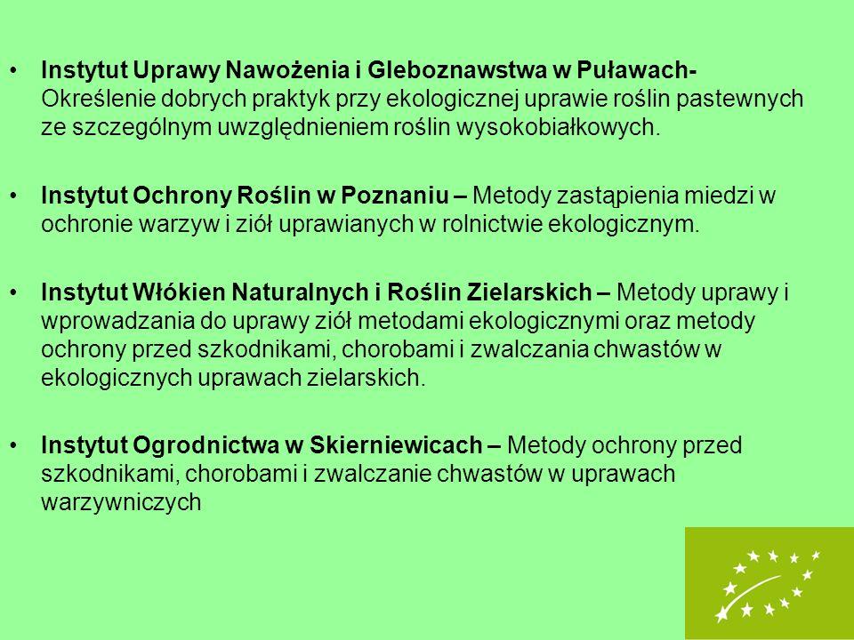 Instytut Uprawy Nawożenia i Gleboznawstwa w Puławach- Określenie dobrych praktyk przy ekologicznej uprawie roślin pastewnych ze szczególnym uwzględnie
