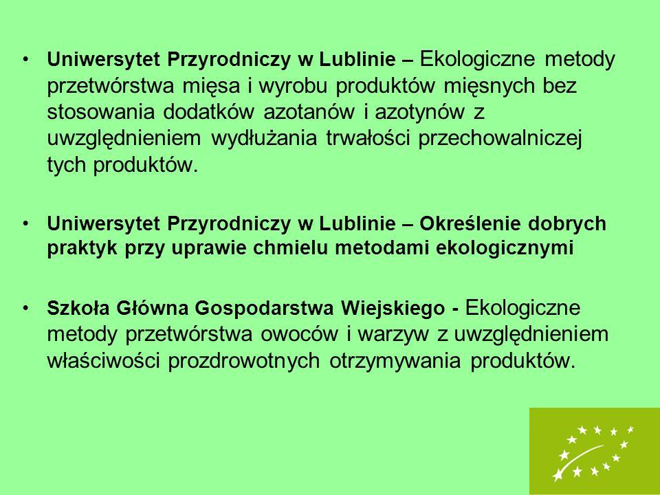 Uniwersytet Przyrodniczy w Lublinie – Ekologiczne metody przetwórstwa mięsa i wyrobu produktów mięsnych bez stosowania dodatków azotanów i azotynów z