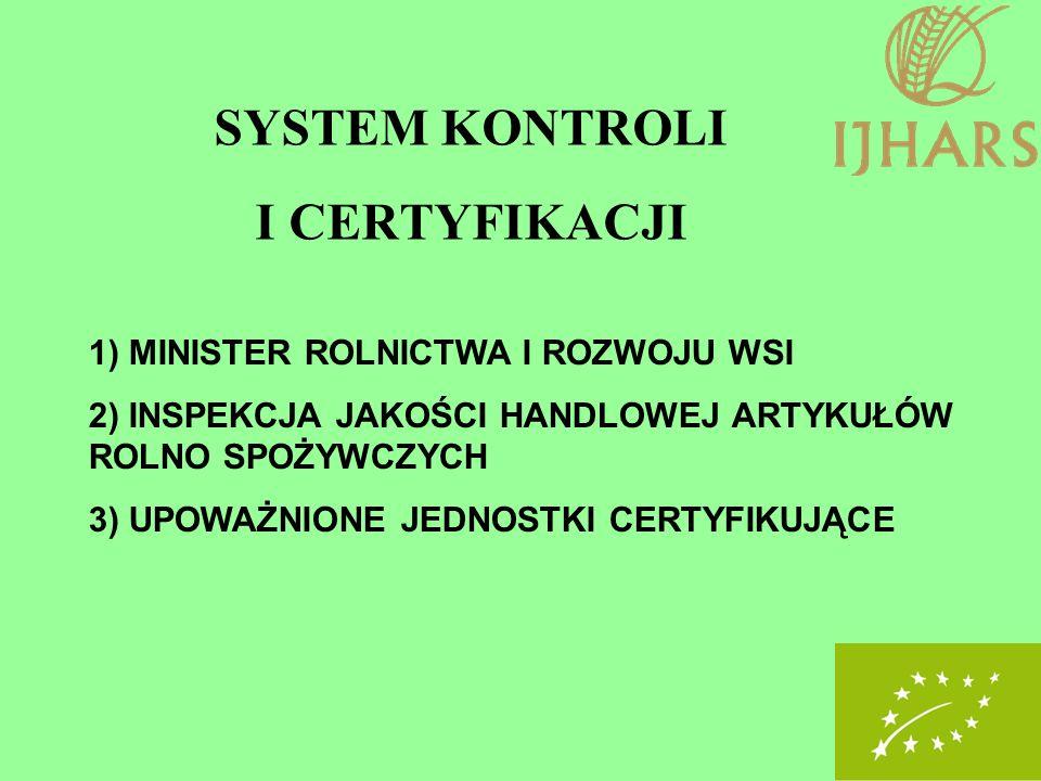 SYSTEM KONTROLI I CERTYFIKACJI 1) MINISTER ROLNICTWA I ROZWOJU WSI 2) INSPEKCJA JAKOŚCI HANDLOWEJ ARTYKUŁÓW ROLNO SPOŻYWCZYCH 3) UPOWAŻNIONE JEDNOSTKI