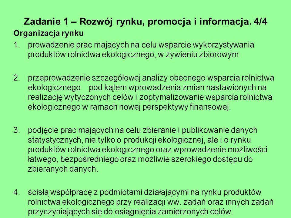 Zadanie 1 – Rozwój rynku, promocja i informacja. 4/4 Organizacja rynku 1.prowadzenie prac mających na celu wsparcie wykorzystywania produktów rolnictw