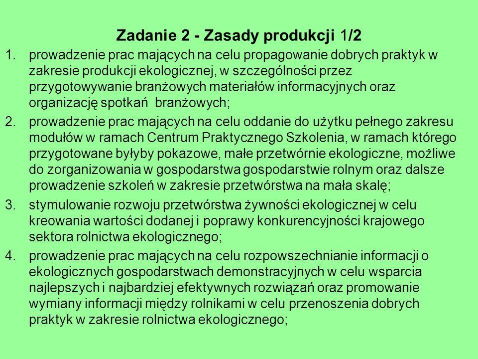 Zadanie 2 - Zasady produkcji 1/2 1.prowadzenie prac mających na celu propagowanie dobrych praktyk w zakresie produkcji ekologicznej, w szczególności p