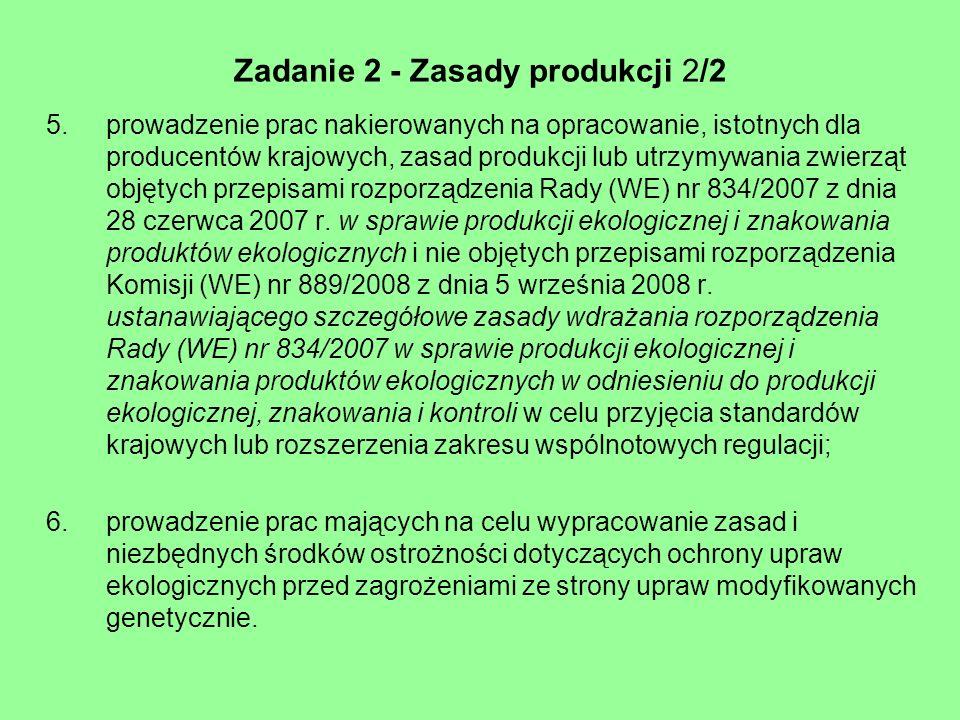 Zadanie 2 - Zasady produkcji 2/2 5.prowadzenie prac nakierowanych na opracowanie, istotnych dla producentów krajowych, zasad produkcji lub utrzymywani