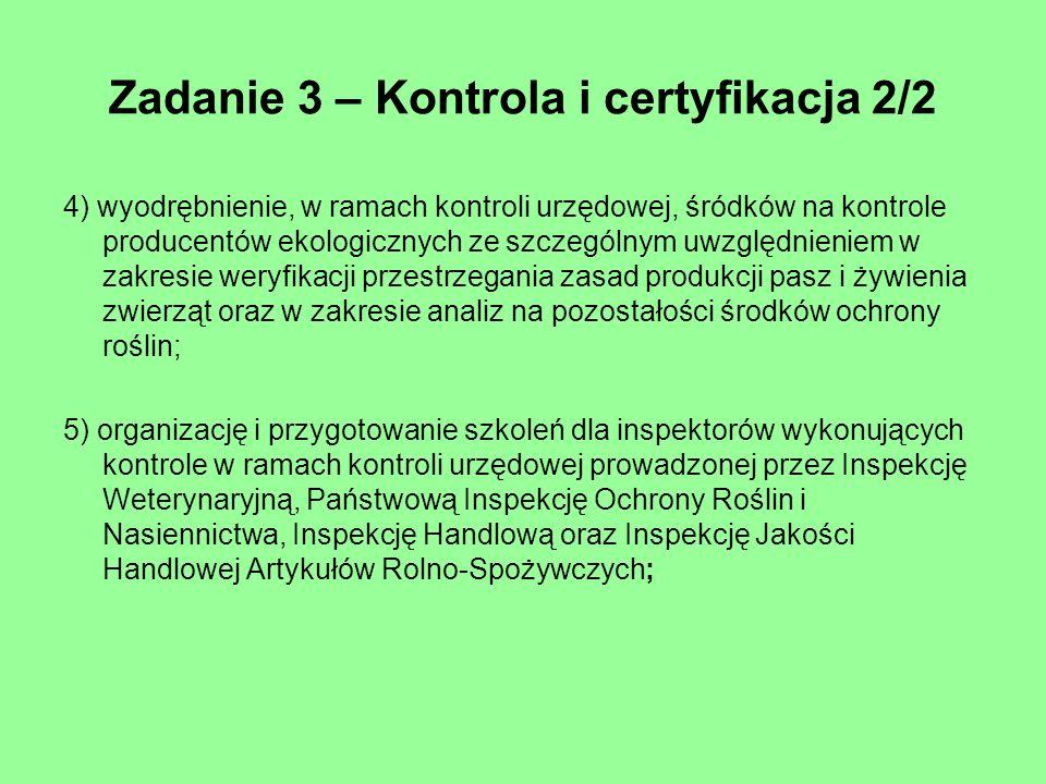 Zadanie 3 – Kontrola i certyfikacja 2/2 4) wyodrębnienie, w ramach kontroli urzędowej, śródków na kontrole producentów ekologicznych ze szczególnym uw