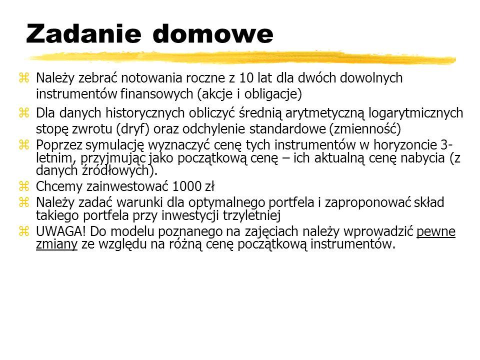 Zadanie domowe zNależy zebrać notowania roczne z 10 lat dla dwóch dowolnych instrumentów finansowych (akcje i obligacje) zDla danych historycznych obl