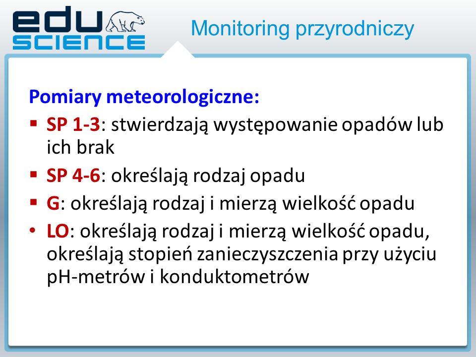 Monitoring przyrodniczy Pomiary meteorologiczne: SP 1-3: stwierdzają występowanie opadów lub ich brak SP 4-6: określają rodzaj opadu G: określają rodzaj i mierzą wielkość opadu LO: określają rodzaj i mierzą wielkość opadu, określają stopień zanieczyszczenia przy użyciu pH-metrów i konduktometrów