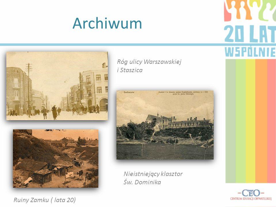 Archiwum Róg ulicy Warszawskiej i Staszica Nieistniejący klasztor Św. Dominika Ruiny Zamku ( lata 20)