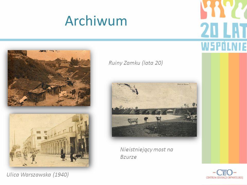 Archiwum Nieistniejący most na Bzurze Ruiny Zamku (lata 20) Ulica Warszawska (1940)