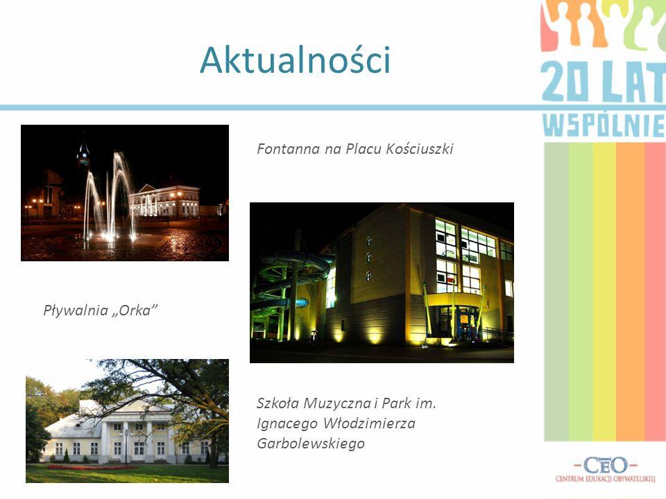 Aktualności Fontanna na Placu Kościuszki Pływalnia Orka Szkoła Muzyczna i Park im. Ignacego Włodzimierza Garbolewskiego