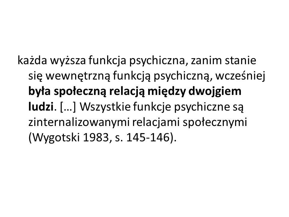 każda wyższa funkcja psychiczna, zanim stanie się wewnętrzną funkcją psychiczną, wcześniej była społeczną relacją między dwojgiem ludzi. […] Wszystkie