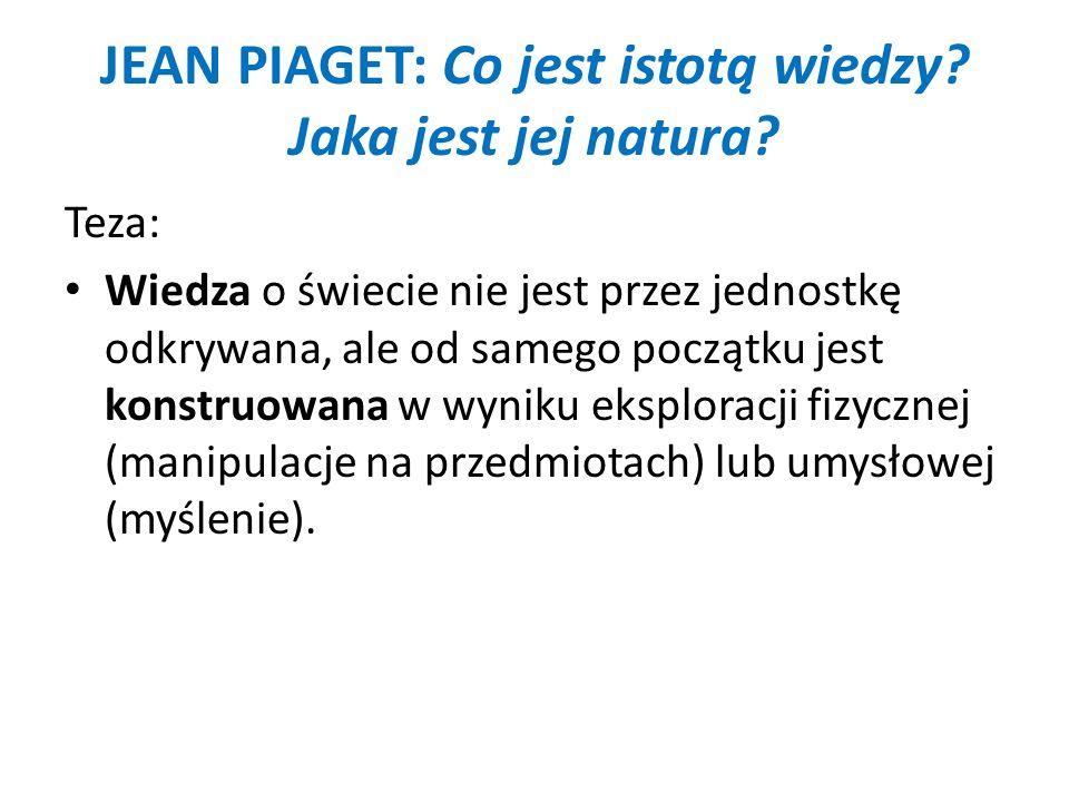 JEAN PIAGET: Co jest istotą wiedzy? Jaka jest jej natura? Teza: Wiedza o świecie nie jest przez jednostkę odkrywana, ale od samego początku jest konst