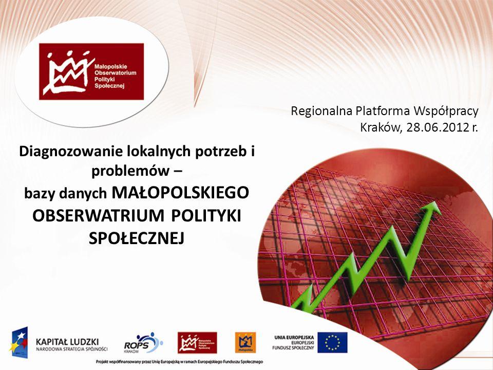 Diagnozowanie lokalnych potrzeb i problemów – bazy danych MAŁOPOLSKIEGO OBSERWATRIUM POLITYKI SPOŁECZNEJ Regionalna Platforma Współpracy Kraków, 28.06.2012 r.