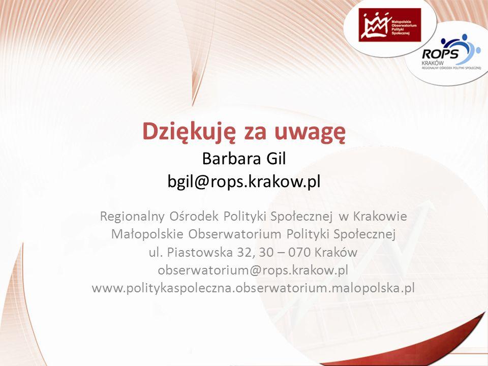 Dziękuję za uwagę Barbara Gil bgil@rops.krakow.pl Regionalny Ośrodek Polityki Społecznej w Krakowie Małopolskie Obserwatorium Polityki Społecznej ul.