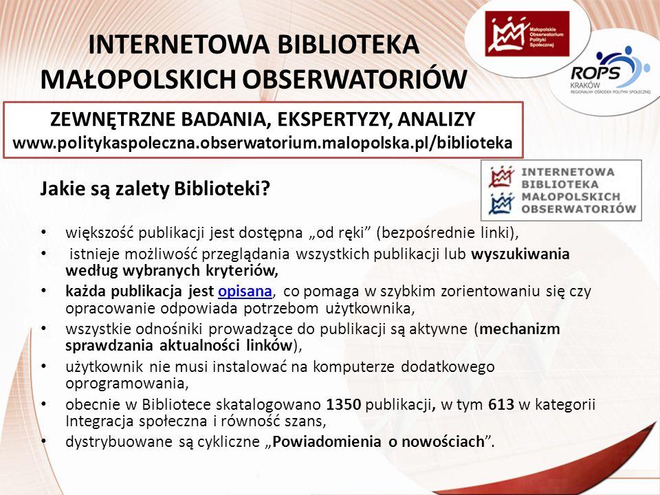 INTERNETOWA BIBLIOTEKA MAŁOPOLSKICH OBSERWATORIÓW Jakie są zalety Biblioteki.