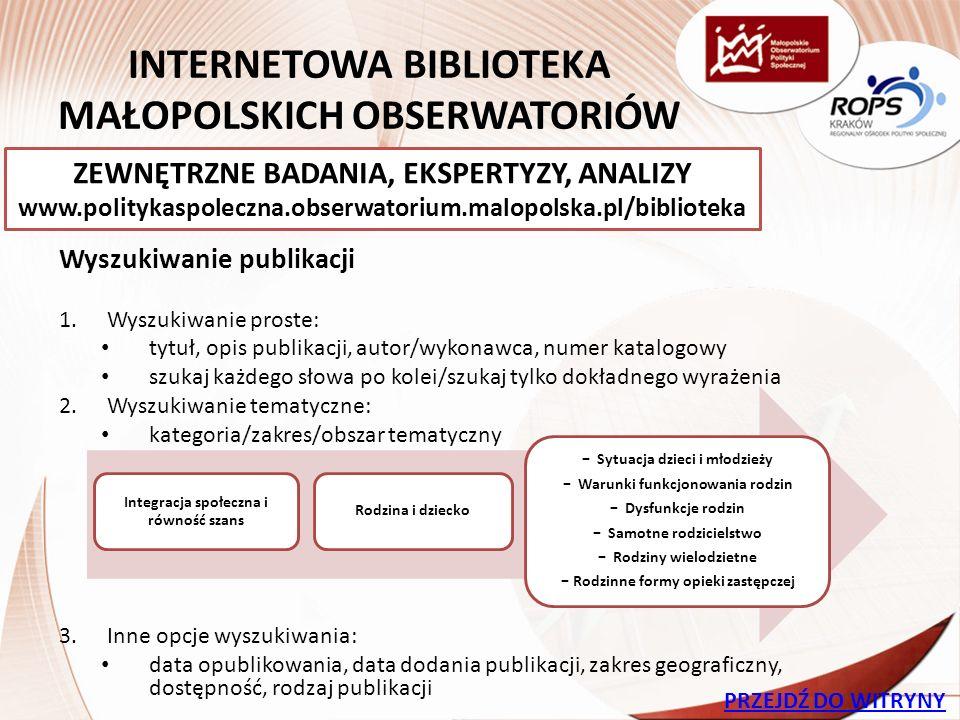 INTERNETOWY OBSERWATOR STATYSTYK SPOŁECZNYCH Obserwator obrazuje różnorodne dane statystyczne dotyczące Małopolski, w tym opisujące: jakość i standard życia mieszkańców sytuację demograficzną regionu bezpieczeństwo publiczne stan zdrowia Małopolan dostęp do kultury i innych społecznych dóbr WIZUALIZACJA WSKAŹNIKÓW SPOŁECZNYCH www.obserwator.rops.krakow.pl