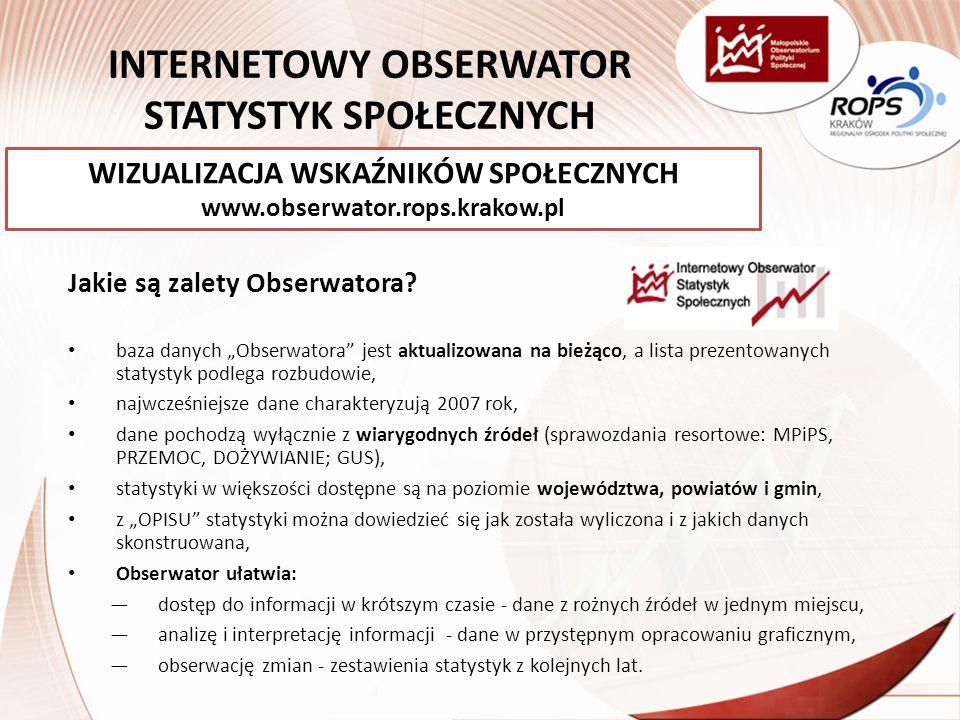INTERNETOWY OBSERWATOR STATYSTYK SPOŁECZNYCH Jakie są zalety Obserwatora.