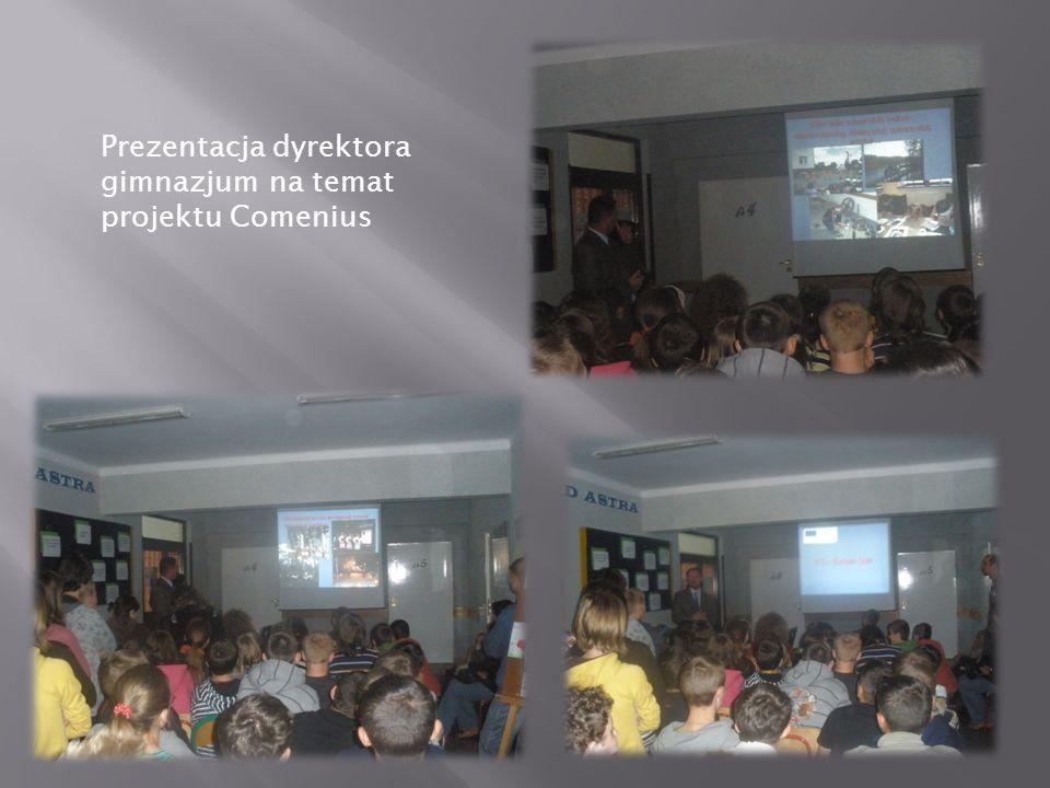 Prezentacja dyrektora gimnazjum na temat projektu Comenius