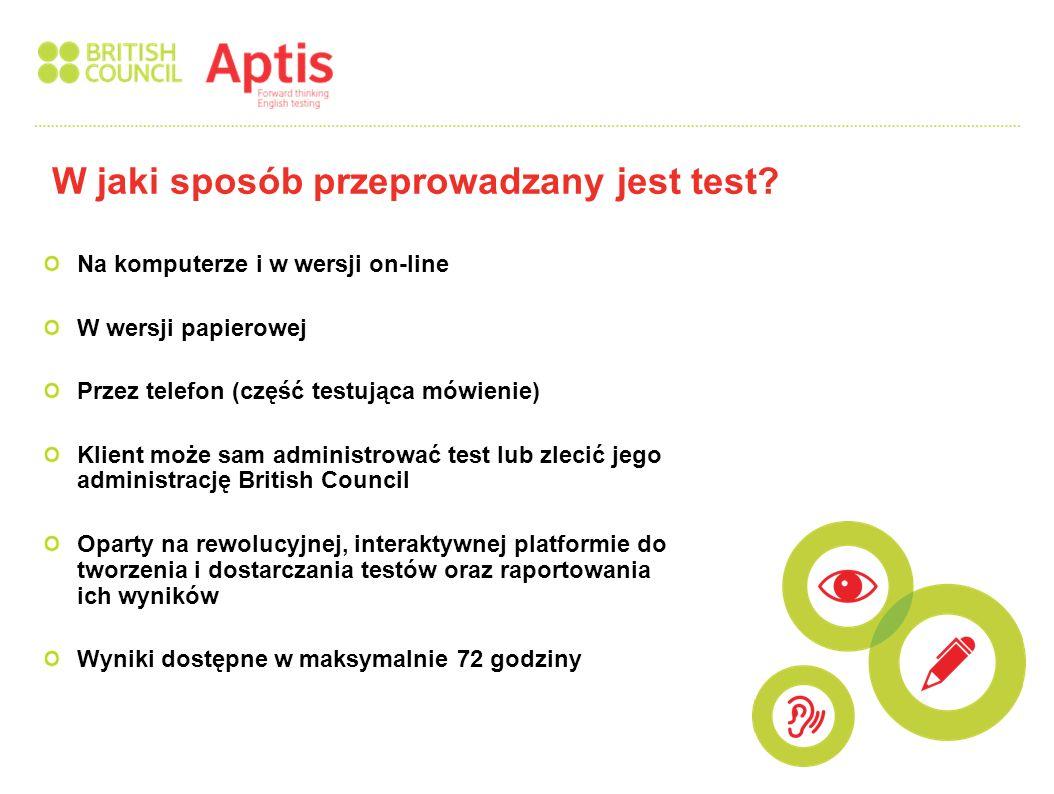 Wynik opisany na Skali Poziomów Rady Europy (CEFR) Wynik komponentu testującego gramatykę i słownictwo opisany na skali od 0 do 50 punktów Wyniki komponentów testujących poszczególne umiejętności językowe opisane na skali od 0 do 50 punktów a także na Skali Poziomów rady Europy (A1-C) Wyniki indywidualne i zbiorcze dla grup Wynik opisany na skali numerycznej oraz wynik opisany na Skali Poziomów Rady Europy dają razem bardziej dokładną ocenę każdej umiejętności osobno Innowacyjny sposób prezentacji wyniku