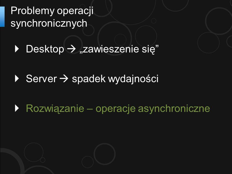 Desktop zawieszenie się Server spadek wydajności Rozwiązanie – operacje asynchroniczne Problemy operacji synchronicznych