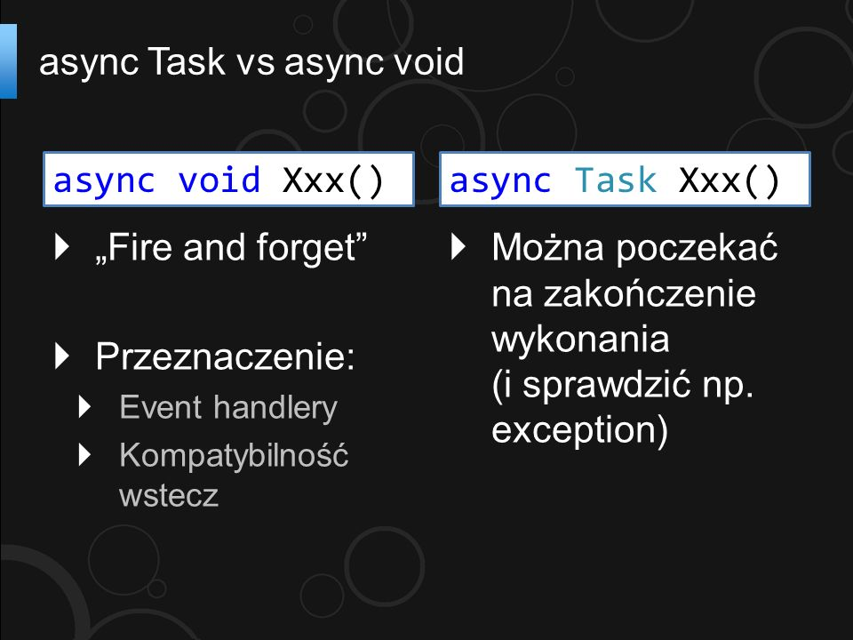 Fire and forget Przeznaczenie: Event handlery Kompatybilność wstecz async Task vs async void Można poczekać na zakończenie wykonania (i sprawdzić np.