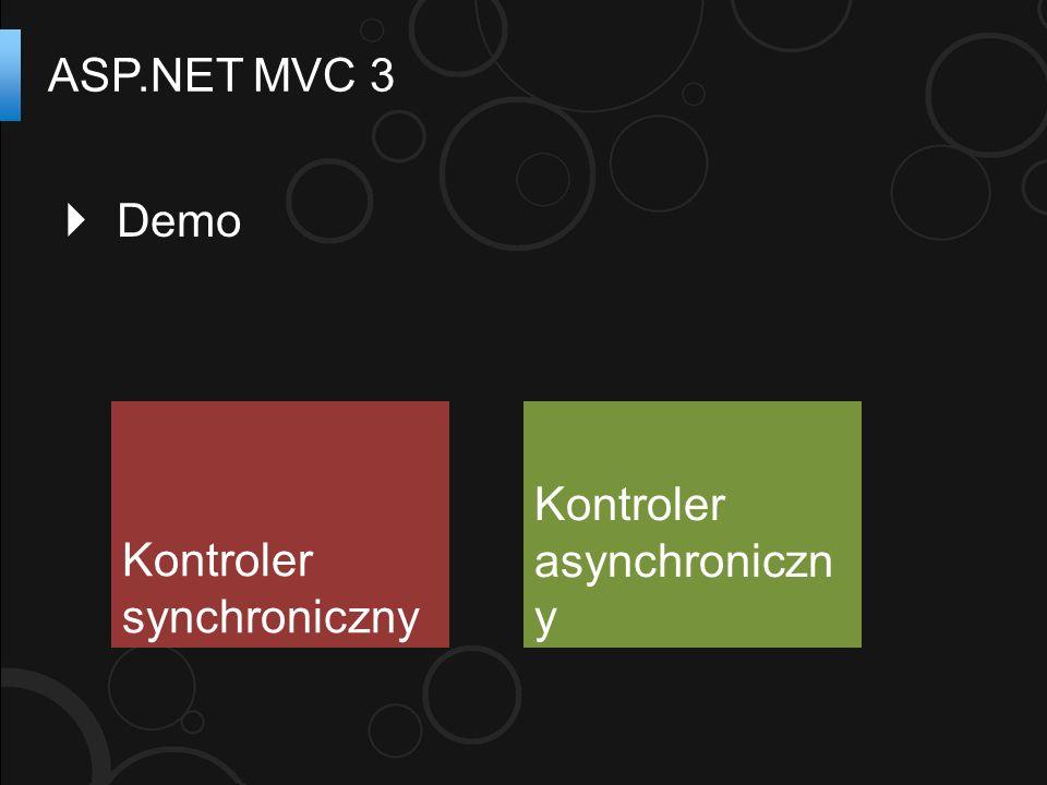 ASP.NET MVC 3 Kontroler synchroniczny Kontroler asynchroniczn y Demo