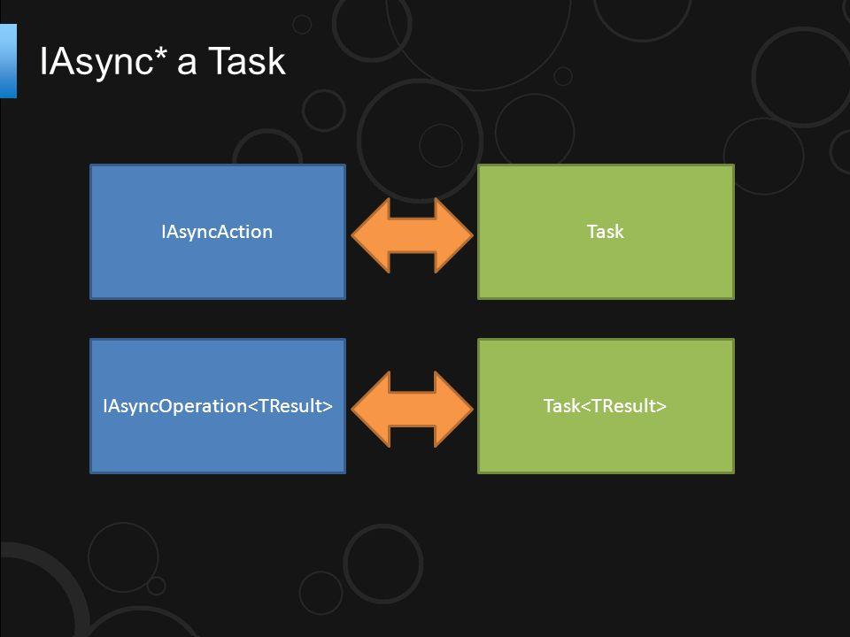 IAsync* a Task IAsyncAction IAsyncOperation Task