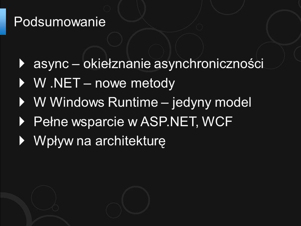 async – okiełznanie asynchroniczności W.NET – nowe metody W Windows Runtime – jedyny model Pełne wsparcie w ASP.NET, WCF Wpływ na architekturę Podsumowanie