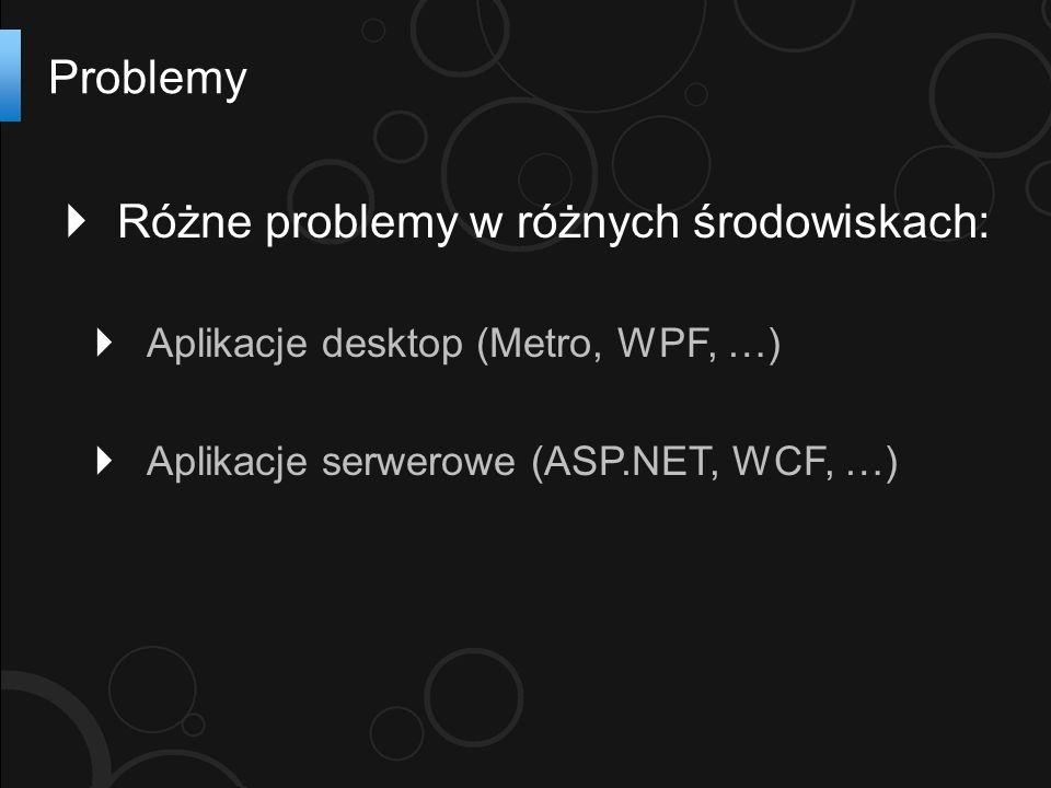 Różne problemy w różnych środowiskach: Aplikacje desktop (Metro, WPF, …) Aplikacje serwerowe (ASP.NET, WCF, …) Problemy
