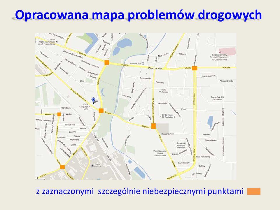 Opracowana mapa problemów drogowych z zaznaczonymi szczególnie niebezpiecznymi punktami