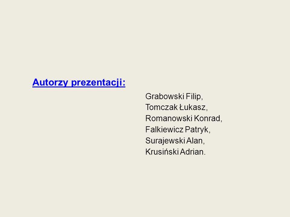 Grabowski Filip, Tomczak Łukasz, Romanowski Konrad, Falkiewicz Patryk, Surajewski Alan, Krusiński Adrian. Autorzy prezentacji: