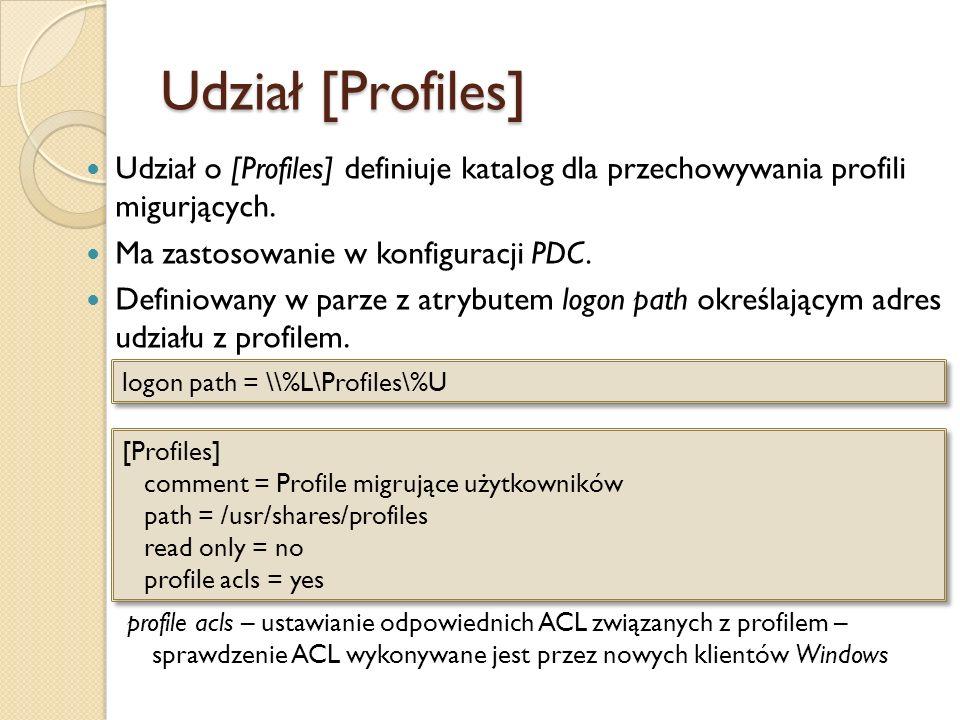 Udział [Profiles] Udział o [Profiles] definiuje katalog dla przechowywania profili migurjących. Ma zastosowanie w konfiguracji PDC. Definiowany w parz