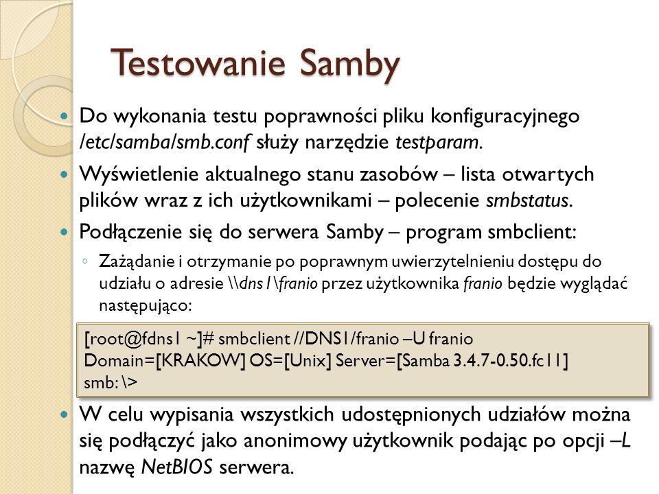 Testowanie Samby Do wykonania testu poprawności pliku konfiguracyjnego /etc/samba/smb.conf służy narzędzie testparam. Wyświetlenie aktualnego stanu za