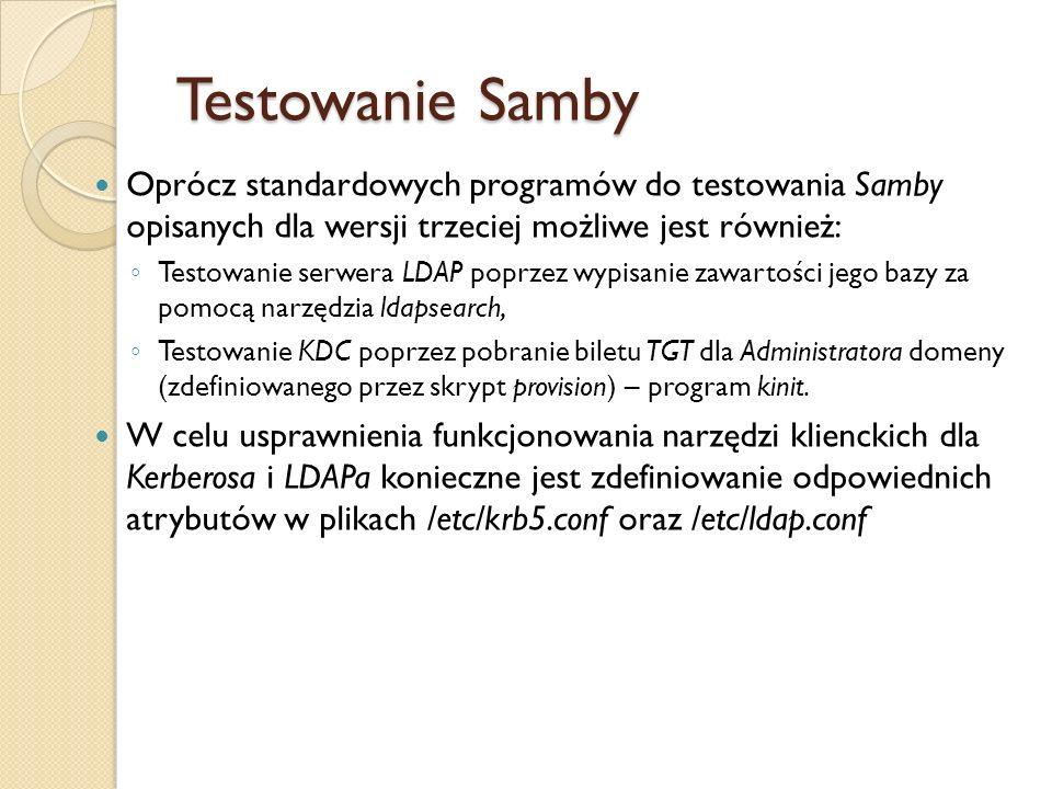 Testowanie Samby Oprócz standardowych programów do testowania Samby opisanych dla wersji trzeciej możliwe jest również: Testowanie serwera LDAP poprze