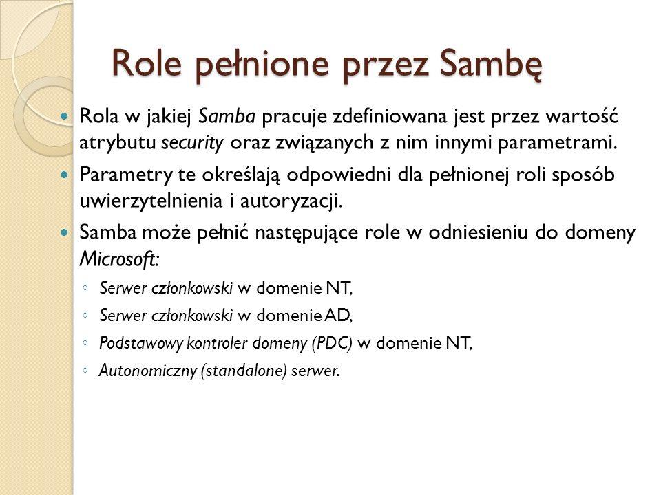 Role pełnione przez Sambę Rola w jakiej Samba pracuje zdefiniowana jest przez wartość atrybutu security oraz związanych z nim innymi parametrami. Para
