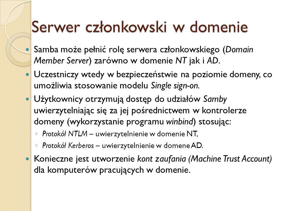 Serwer członkowski w domenie Samba może pełnić rolę serwera członkowskiego (Domain Member Server) zarówno w domenie NT jak i AD. Uczestniczy wtedy w b