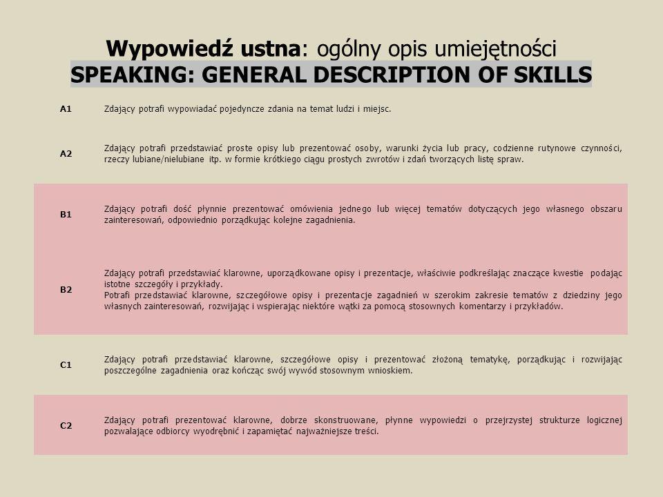 Wypowiedź ustna: ogólny opis umiejętności SPEAKING: GENERAL DESCRIPTION OF SKILLS A1Zdający potrafi wypowiadać pojedyncze zdania na temat ludzi i miej
