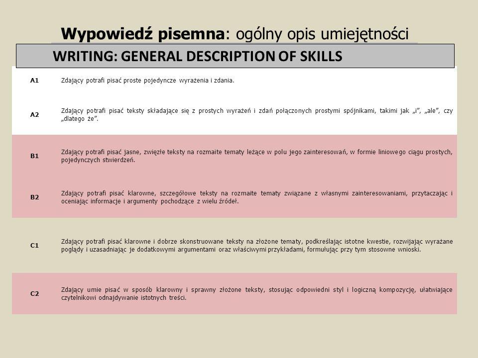 Wypowiedź pisemna: ogólny opis umiejętności WRITING: GENERAL DESCRIPTION TF SKILLS A1Zdający potrafi pisać proste pojedyncze wyrażenia i zdania. A2 Zd