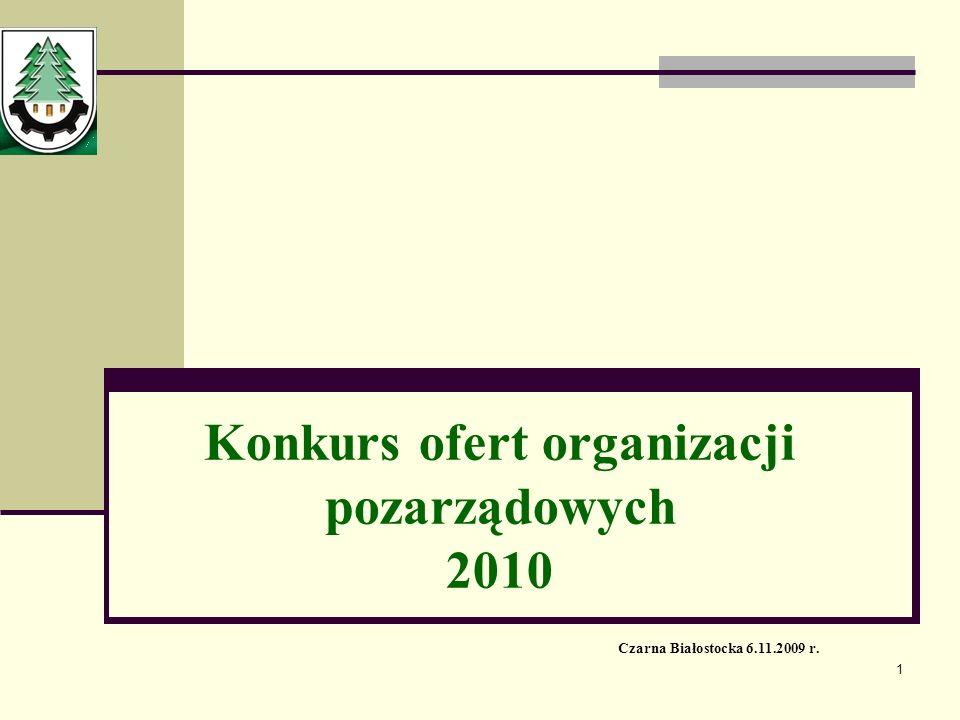 1 Czarna Białostocka 6.11.2009 r. Konkurs ofert organizacji pozarządowych 2010