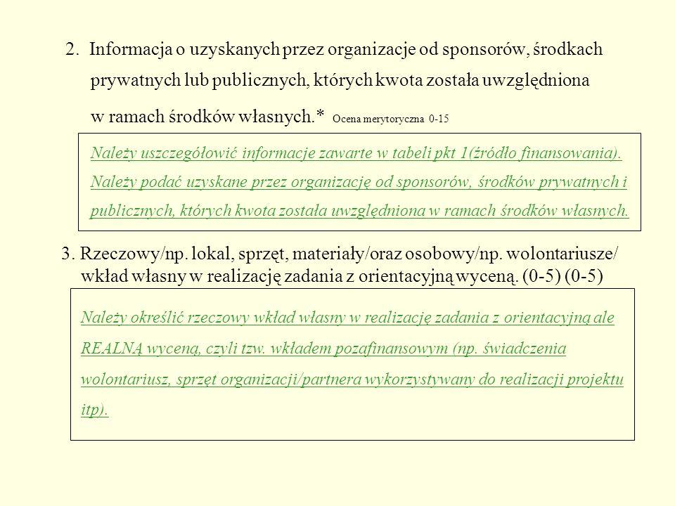 2. Informacja o uzyskanych przez organizacje od sponsorów, środkach prywatnych lub publicznych, których kwota została uwzględniona w ramach środków wł