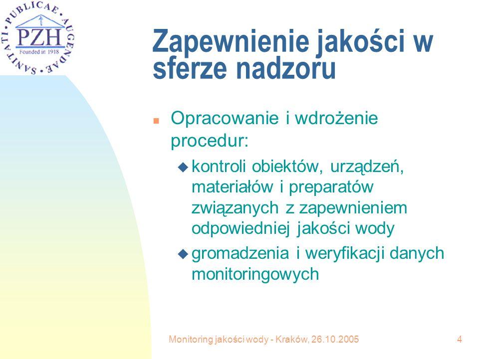 Monitoring jakości wody - Kraków, 26.10.20054 Zapewnienie jakości w sferze nadzoru n Opracowanie i wdrożenie procedur: u kontroli obiektów, urządzeń, materiałów i preparatów związanych z zapewnieniem odpowiedniej jakości wody u gromadzenia i weryfikacji danych monitoringowych