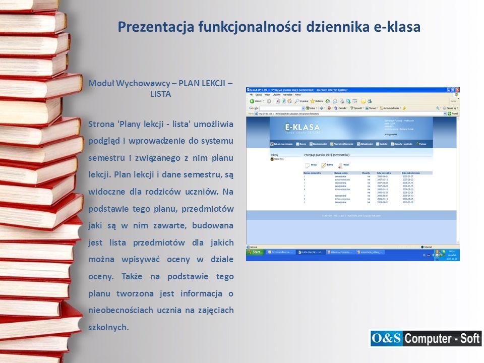 Prezentacja funkcjonalności dziennika e-klasa Moduł Wychowawcy – GENERUJ TEST Strona Generuj test umożliwia wygenerowanie testu z wszystkich pytań zarejestrowanych w systemie.