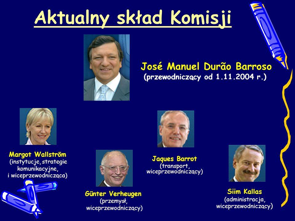 Aktualny skład Komisji José Manuel Durão Barroso (przewodniczący od 1.11.2004 r.) Margot Wallström (instytucje, strategie komunikacyjne, i wiceprzewod