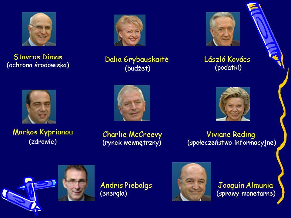 Stavros Dimas (ochrona środowiska) László Kovács (podatki) Dalia Grybauskaitė (budżet) Markos Kyprianou (zdrowie) Charlie McCreevy (rynek wewnętrzny)