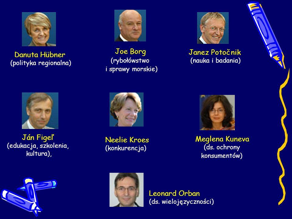 Danuta Hübner (polityka regionalna) Joe Borg (rybołówstwo i sprawy morskie) Janez Potočnik (nauka i badania) Ján Figeľ (edukacja, szkolenia, kultura),