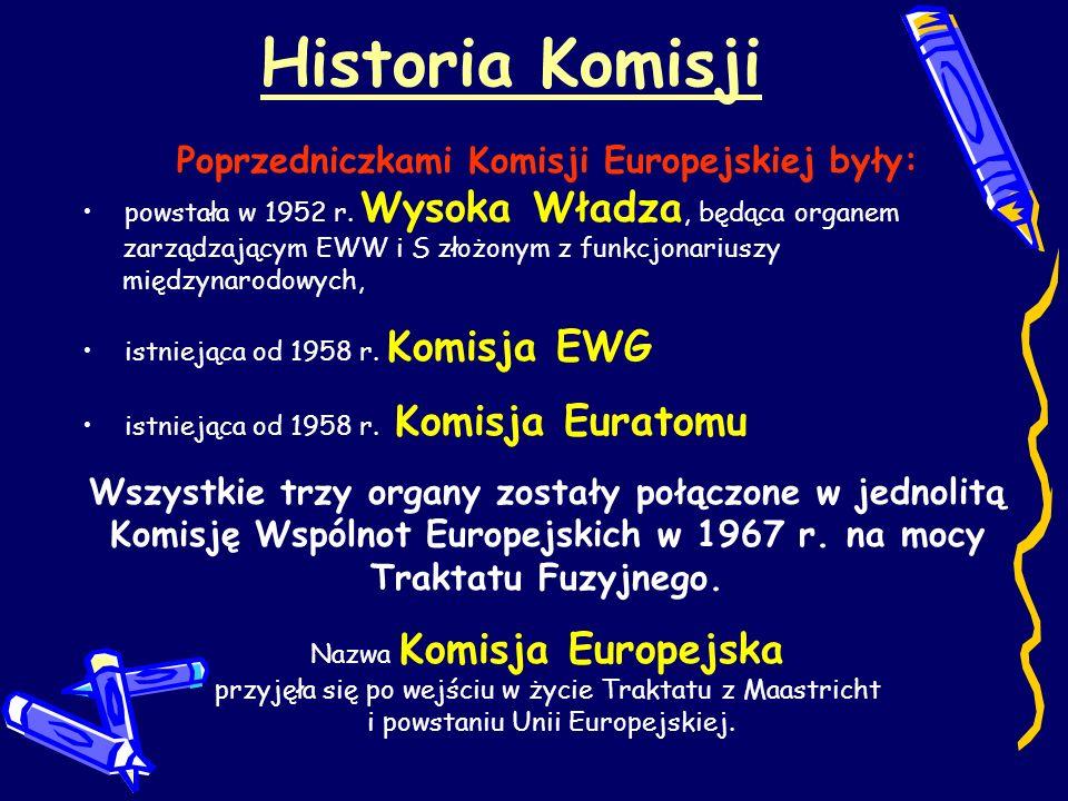 Historia Komisji Poprzedniczkami Komisji Europejskiej były: powstała w 1952 r. Wysoka Władza, będąca organem zarządzającym EWW i S złożonym z funkcjon