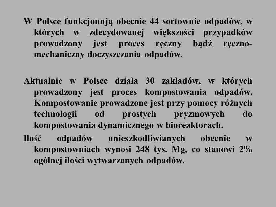 W Polsce funkcjonują obecnie 44 sortownie odpadów, w których w zdecydowanej większości przypadków prowadzony jest proces ręczny bądź ręczno- mechaniczny doczyszczania odpadów.